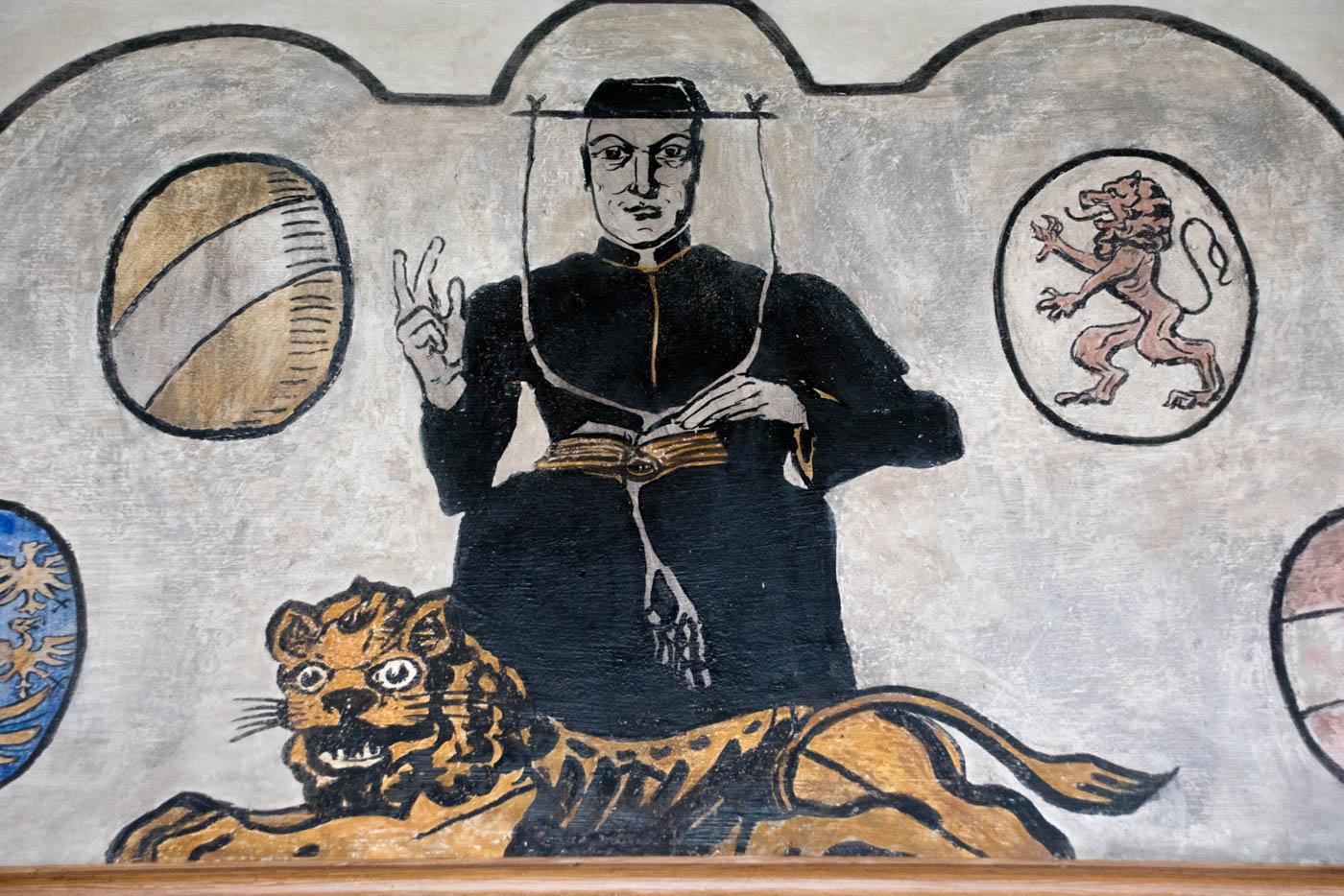 Wandgemälde mit Universitätsheiligem Hieronymus