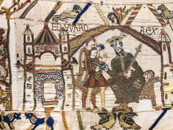 Teppich von Bayeux - Ausschnitt aus Szene 1: König Eduard